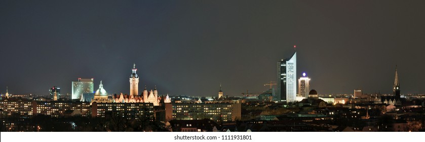 skyline leipzig in germany at night - federal administrative court - university and other historical building for sightseeing and visit