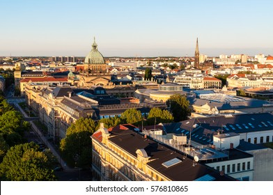 Skyline of Leipzig with high court at sunset, Germany