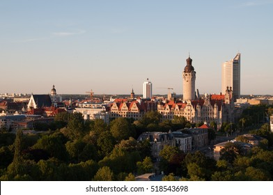 Skyline of Leipzig at sunset, Germany
