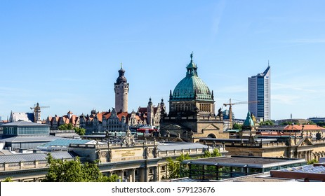 Skyline of Leipzig with townhall and High court