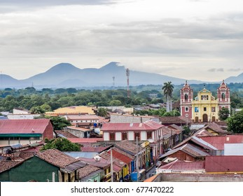 Skyline of Leon, a city in Western Nicaragua, with historic Spanish colonial churches and secular buildings, viewed from the roof of Leon Cathedral, the Basilica of the Assumption.