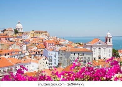 Skyline of Lisbonwith river Tagus at sunny day, Lisbon, Portugal