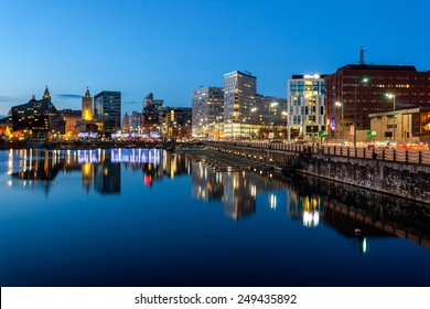 Skyline of Liverpool docks which is a beautiful tourist attraction, Liverpool, England.