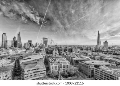 Skyline of London, aerial view.