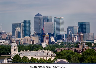 skyline of London, London, Uk, view of a big city on sunny day, 7/16/2017