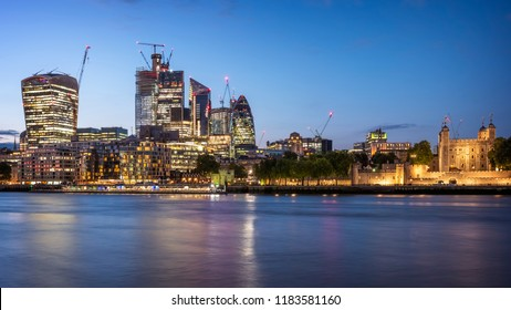 The skyline of London in the United Kingdom at night.