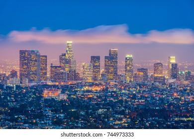 Skyline of Los Angeles, California, USA at dusk