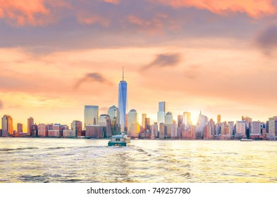 Skyline of lower Manhattan of New York City from Exchange Place at night