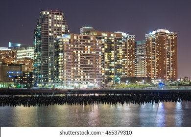 Skyline of Lower Manhattan. Skyscrapers at night.