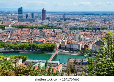 Skyline of Lyon, France, from Fourviere Hill with the Saone, old and new towns and the skyscrapers of La Part-Dieu district, including the famous Tour Part-Dieu