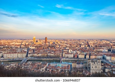 skyline of Lyon with river Rhone