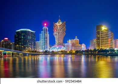 skyline of macau by the sea