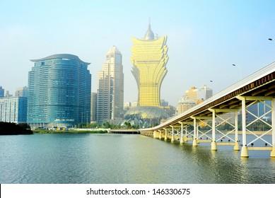 Skyline of Macau city center at  sunset