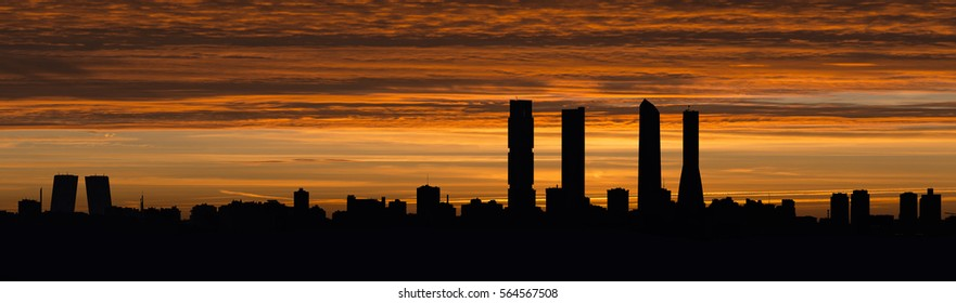 Skyline of Madrid at dusk