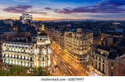 The Skyline of Madrid, Spain, by night: where Gran Via and Alcala Street meet