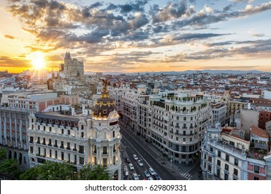 The skyline of Madrid, Spain, during sunset