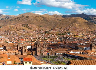 "The skyline and main square of Cusco (Plaza de Armas), nicknamed ""the navel of the world"" with its cathedral and traditional colonial architecture seen from Sacsayhuaman, Peru."