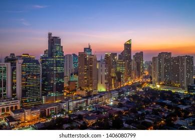 skyline of makati in manila, philippines