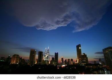 Skyline of Malaysia's capital of Kuala Lumpur, 2005.