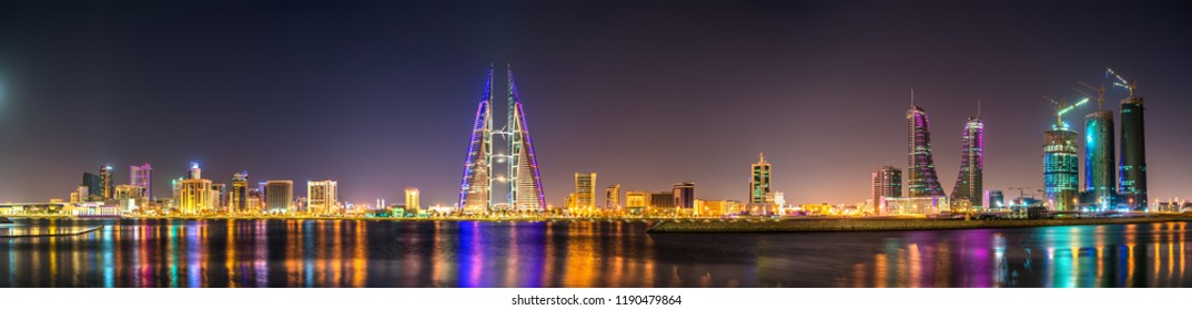 Skyline of Manama, the capital of Bahrain. The Middle East