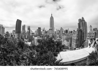 Skyline of Manhattan from rooftop.