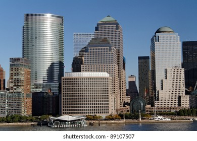The Skyline of Manhattan seen from the Hudson River side