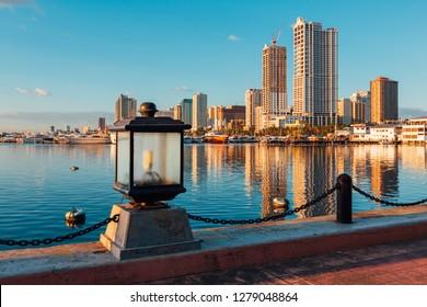 Skyline of Manila City and Manila Bay along the board walk