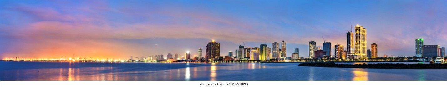 Skyline of Manila at sunset. Luzon island, the Philippines