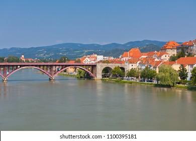 Skyline of Maribor city embankment in the sunny day, Slovenia