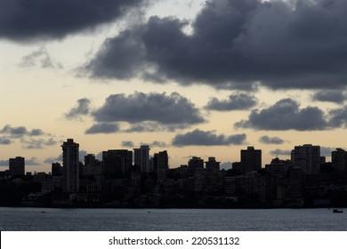 Skyline from Marine Drive in Mumbai.