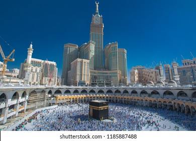 Skyline of MECCA SAUDI ARABIA,April-2018, royal clock tower in makkah,MECCA blue sky background,