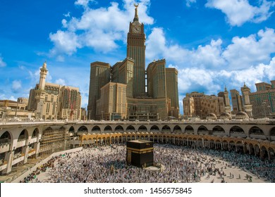 Skyline of MECCA SAUDI ARABIA,April-2018, royal clock tower in makkah,MECCA.clound blue sky background,