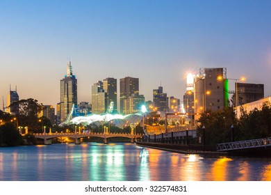 The skyline of Melbourne, Australia and reflections in the yarra river