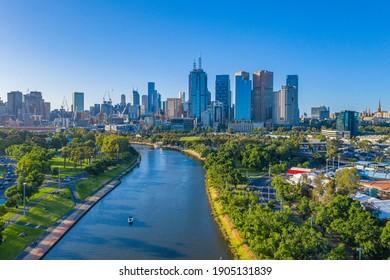 Skyline of Melbourne from Yarra river, Australia