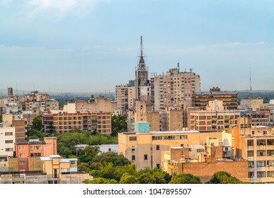 skyline of Mendoza, Argentina with living houses