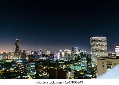 Skyline of Mexico City at night, shot from Colonio Polanco