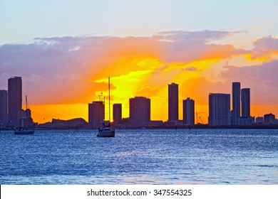 Skyline of Miami Florida, cityscape panorama of modern buildings at sunset and Biscayne Bay