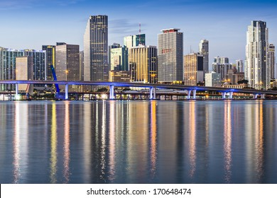 Skyline of Miami, Florida, USA.