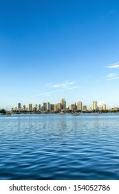 skyline of Miami Florida with  the water of Biscayne Bay. Panoramic skyline of the World famous travel location