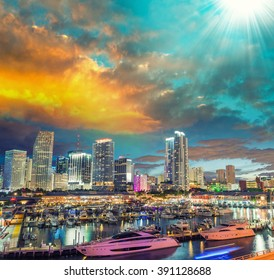 Skyline of Miami at sunset, Florida.