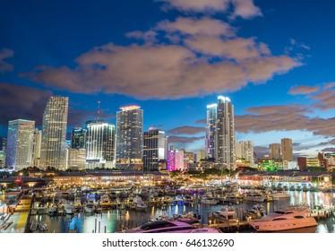 Skyline of Miami at sunset, Florida.