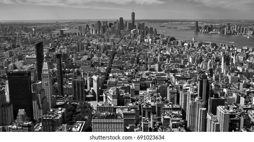 The skyline of midtown and downtown New York City (black and white).