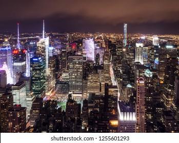 Skyline of Midtown, Manhattan, New York City, USA at night in April 2015