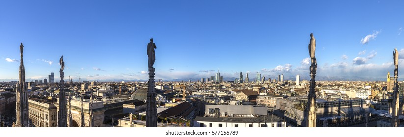 skyline of milan from famous Milan Cathedral
