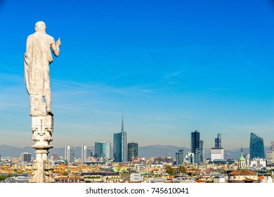 Skyline of Milan, view from the roof of Duomo of Milan, (Milan Cathedral), Italy.