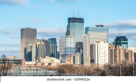 Skyline of Minneapolis, Minnesota in the Autum