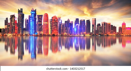 Skyline of modern city of Doha in Qatar, Middle East. - Doha's Corniche in West Bay, Doha, Qatar