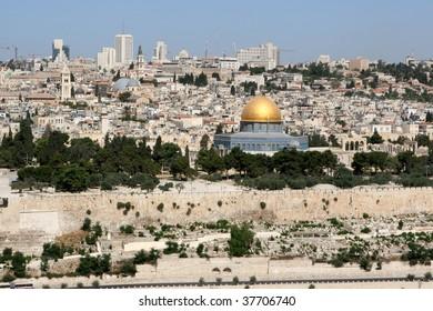 Skyline of modern day city of Jerusalem, Israel.
