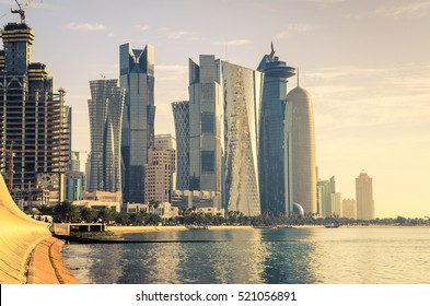 The skyline of the modern and high-rising city of Doha in Qatar, Middle East