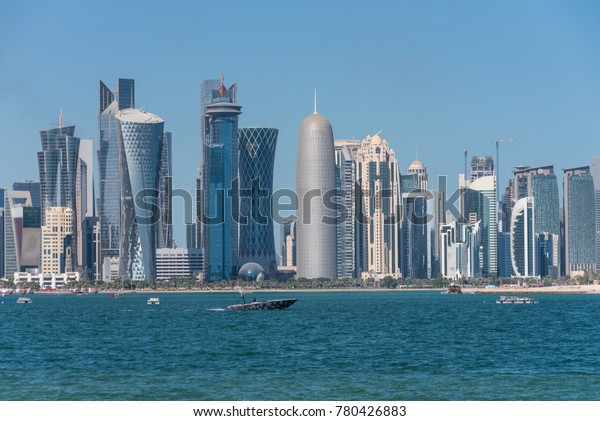 The skyline of the modern and high-rising city of Doha, Qatar, Middle East.